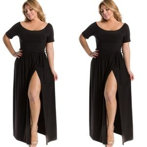 Plus Size Black Maxi Dress With High Slit